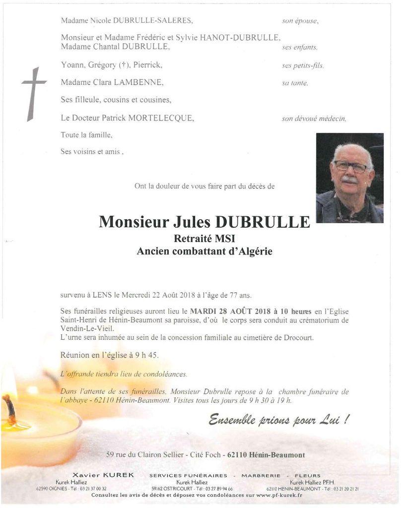 Décès de Jules Dubrulle