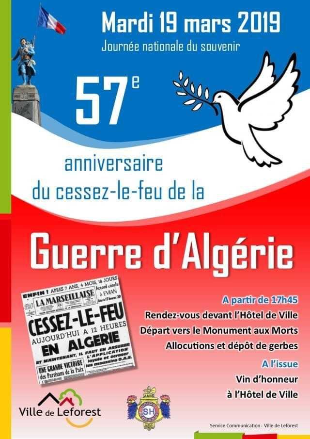 Commémorations du cessez le feu de la guerre d'Algérie à Leforest