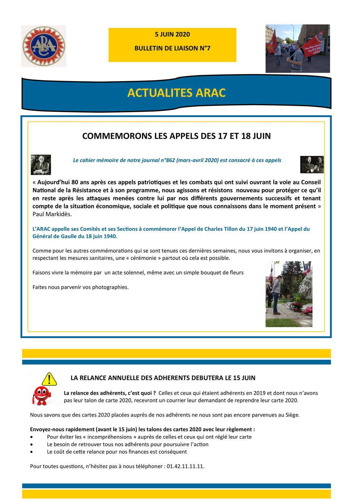 Le bulletin de liaison de l'ARAC n°7 - juin 2020