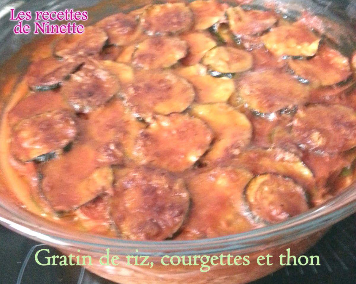 gratin de riz, courgettes et thon