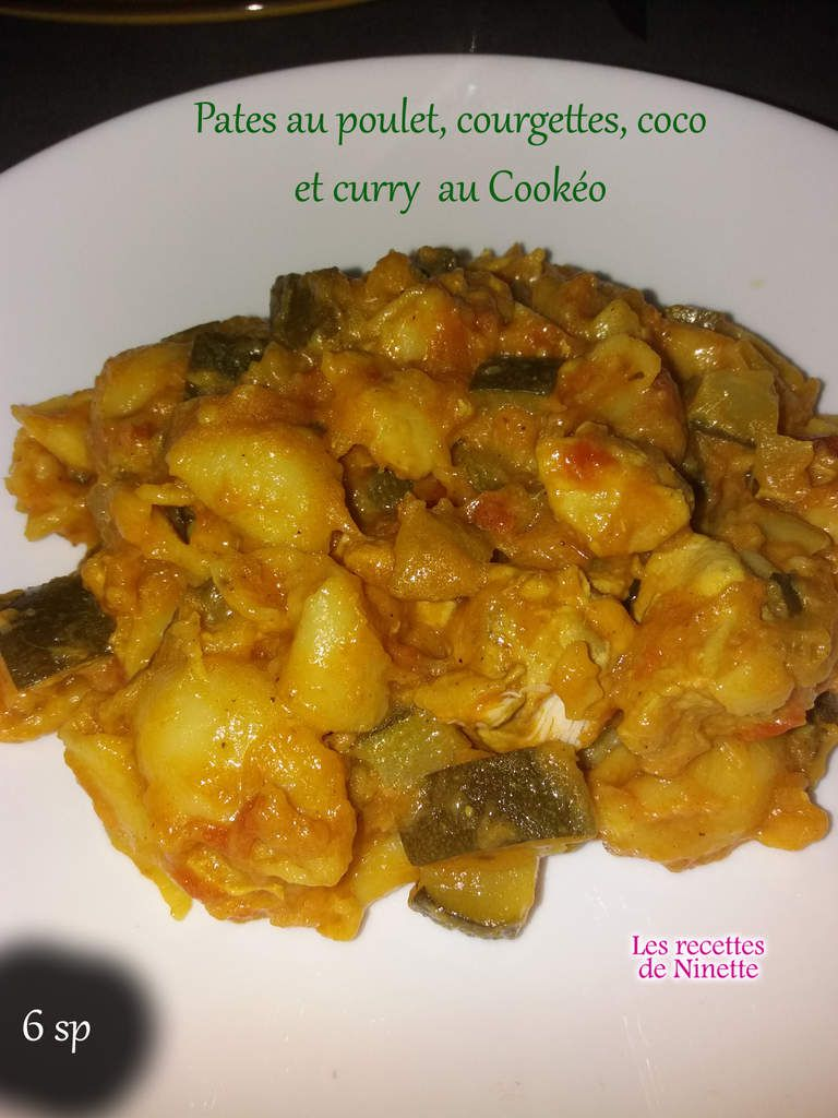 pates poulet courgettes coco curry cookeo 6 sp ww