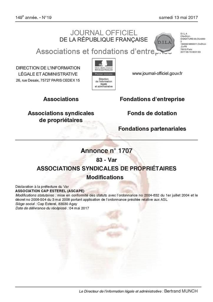 Photo du document officiel