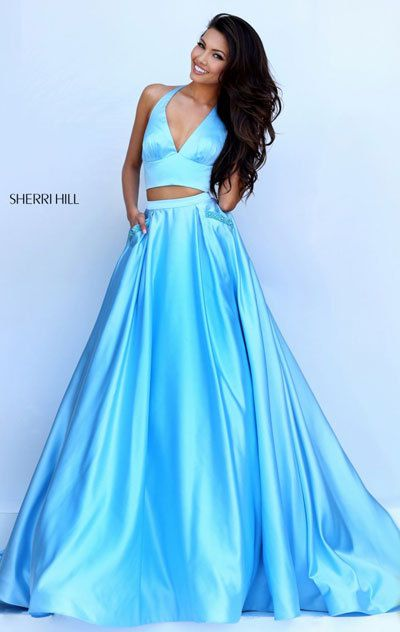 22d8cb4f03 Blue 2016 Prom Dress Affordable Halter Two Piece Set Open Back Sherri Hill  50053. With  long prom dress 2018