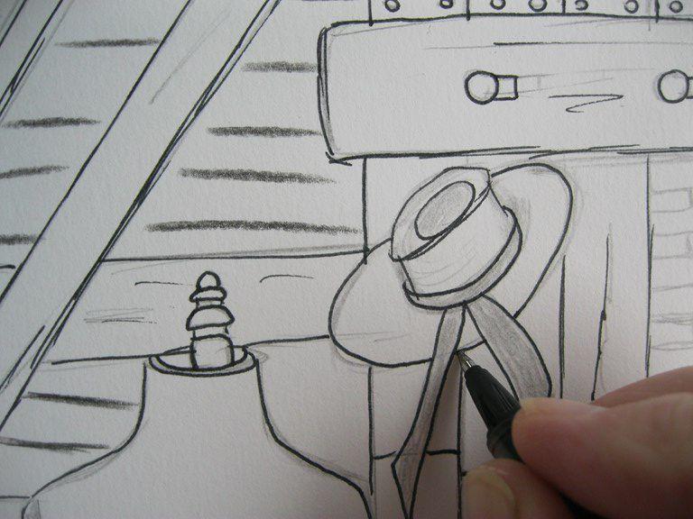 Mon dessin du 27 juin 2020  (je dessine au jardin, ça m'inspire)