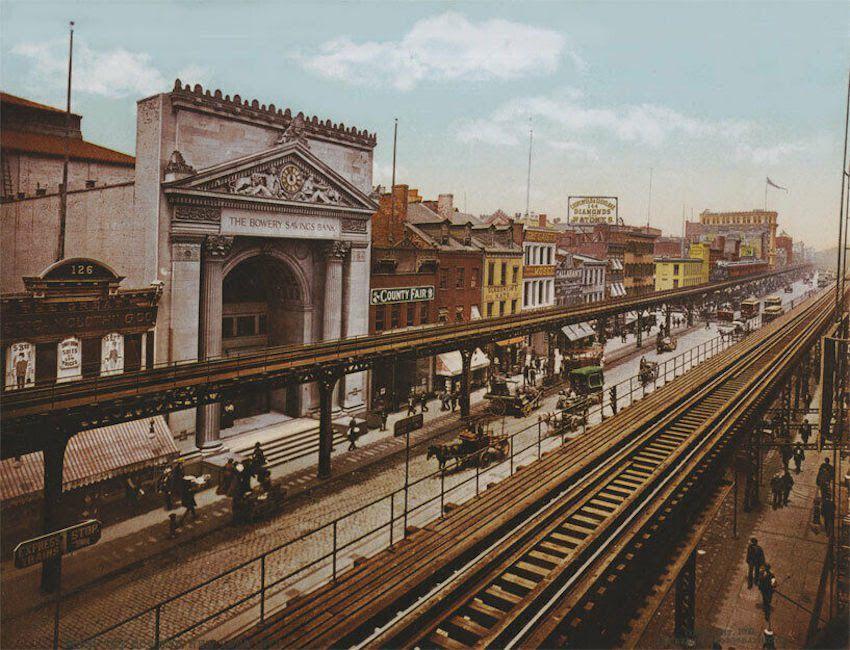 Elevated train - train surélevé - New York  19ème siècle