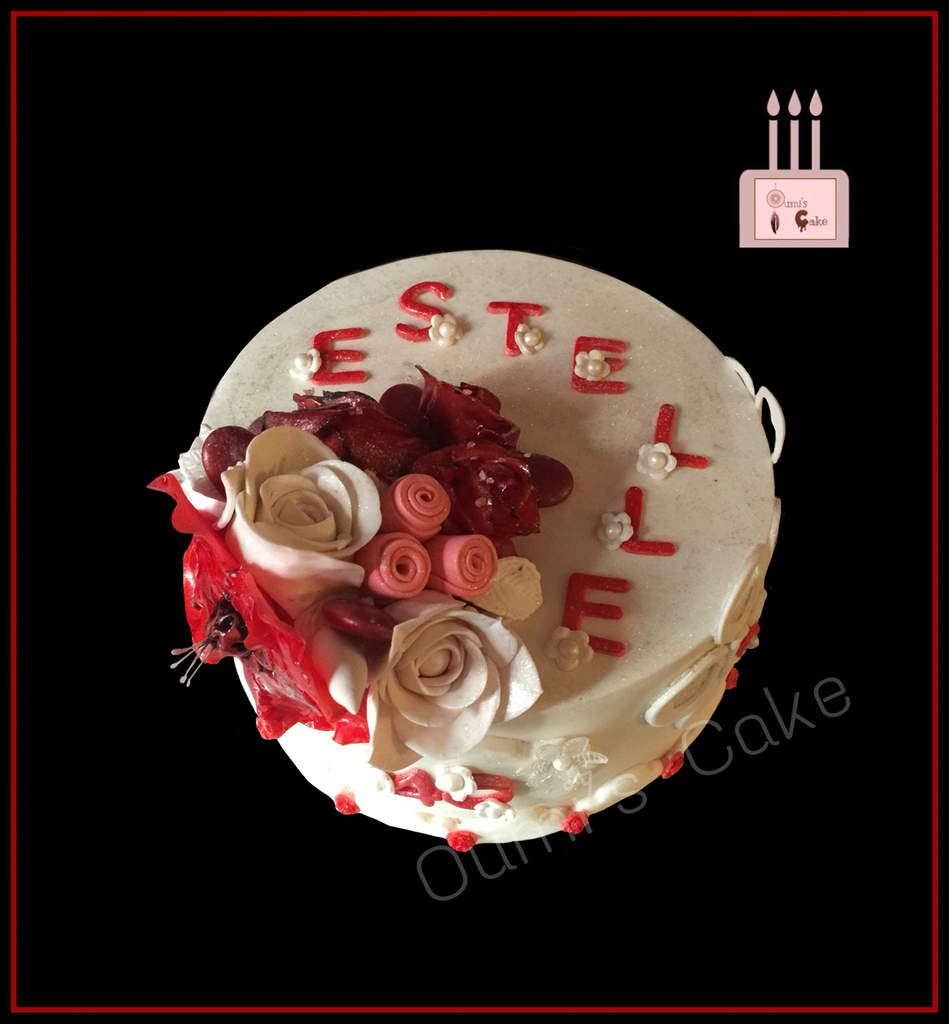 Gateau fleuri - Génoise - confiture framboises/nutella/confiture framboises - chocolat noir - 💯réalisé à la main et 💯comestible - 40 ans Estelle