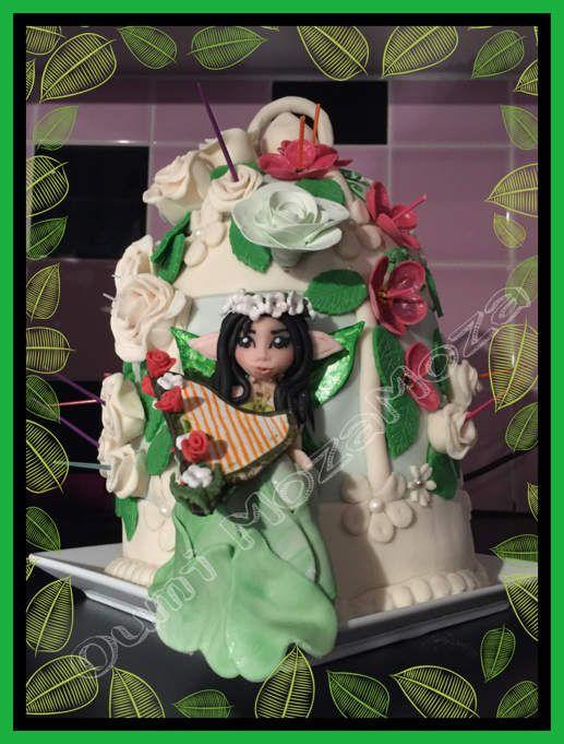 Gateau cage à oiseau avec fée à la harpe, pour les 11 ans de ma fille Morjane (mai 2016)