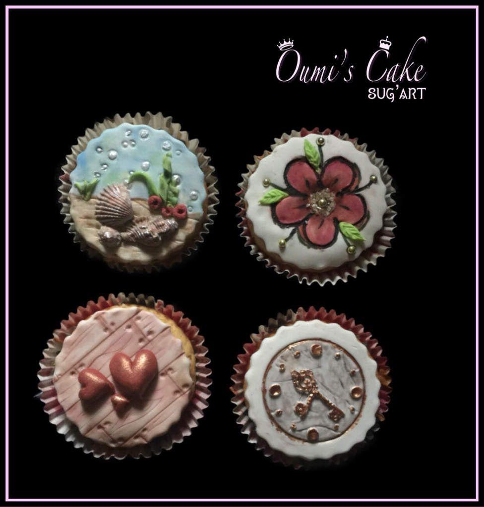 Hi ma team 👋🏼  Décoration cupcakes en pâte à sucre...   12 cupcakes vanille, coeur nutella Pâte à sucre satin ice (vanille) Poudre et colorants alimentaires  Merci Salade De Fruits pour ta confiance et fidélité 🙏🏼  3 cupcakes de chaque. Thèmes demandés.  Des becs 😙
