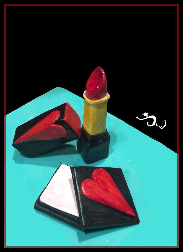 Rouge à lèvres et fard à joues - modelés à la main en pâte à sucre - 100% comestible -