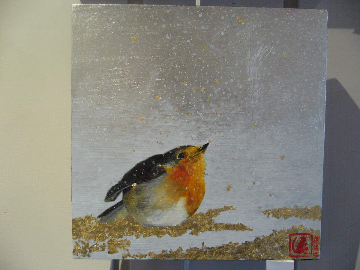 Rouge-gorge, acrylique sur bois doré à la feuille