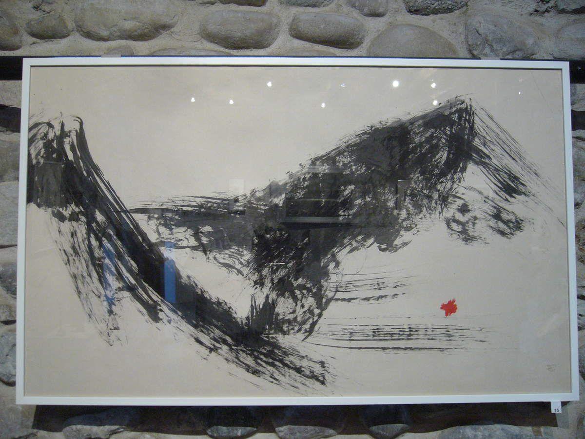 Siviez I, encre sur papier japon marouflé sur Zercall