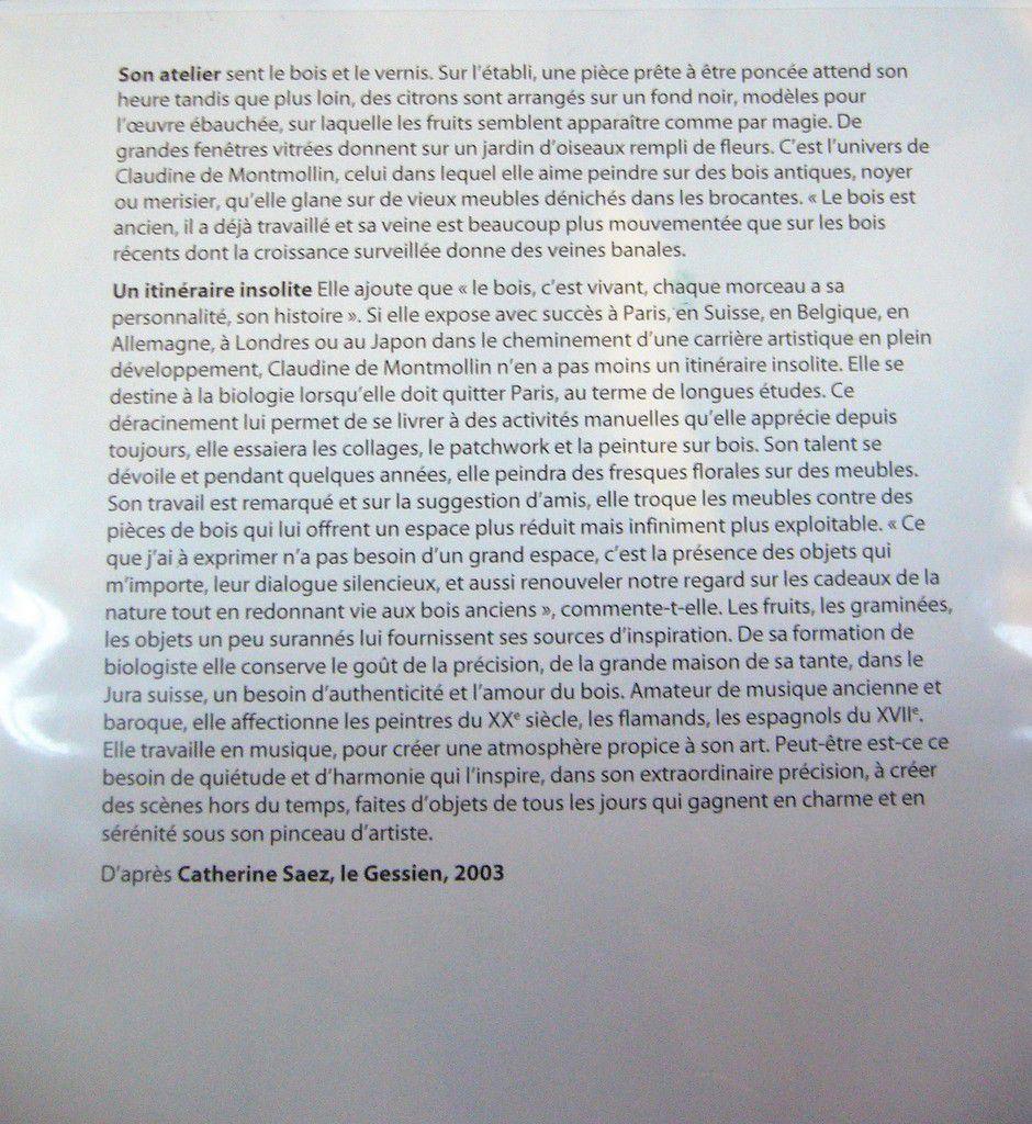 EXPOSITION CLAUDINE DE MONTMOLLIN (PEINTURES)