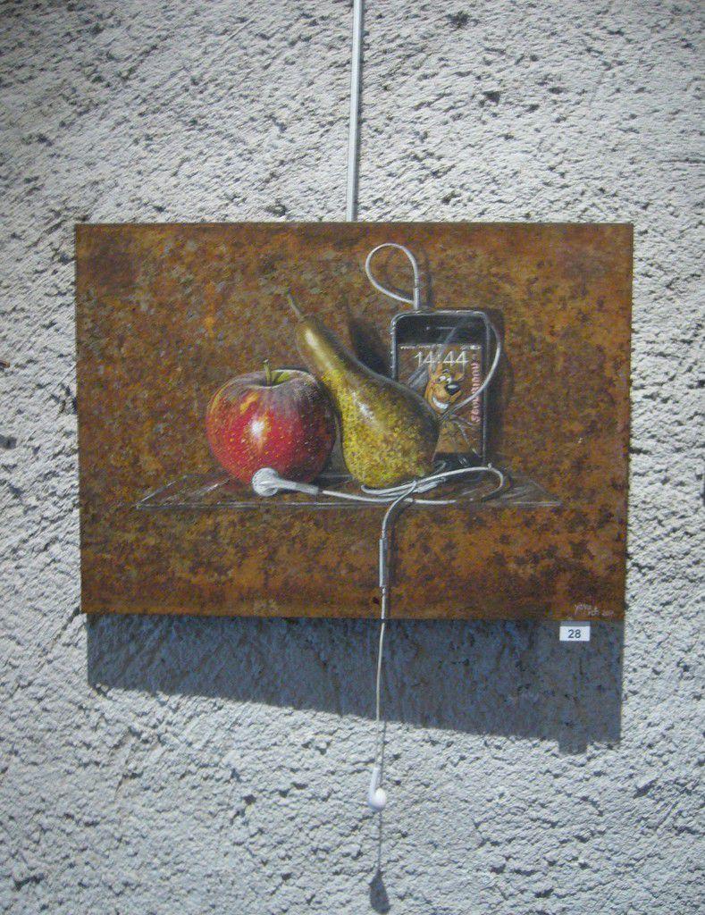 Pomme, poire et scoubidou bidou,  Acrylique sur métal