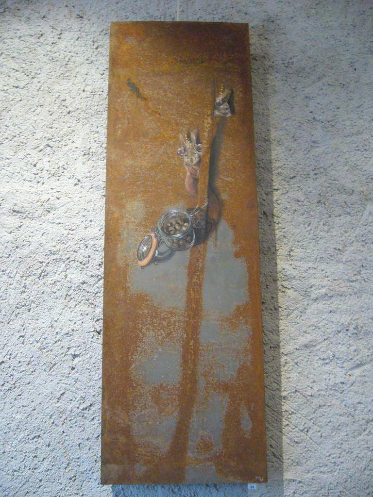 Rendez-vous vers rongeurs,  Acrylique sur métal