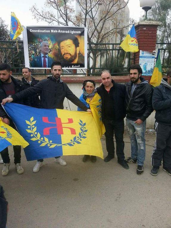 Le rassemblement  pour dénoncer l'arrachage du portrait de Ferhat Mehenni en images. KDirect - Actualité