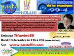 Mardi 13 décembre, l'émission Tifawine59 reçoit Madame TORRALBA, fondatrice de l'association Leila et Nawelle