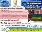 Emission Tifawine59, mardi 2 mai 2017: Actualité de la semaine en direct