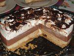 Dessert bi-couches à la poudre de flans, vanille et chocolat sur un fond de tarte aux biscuits écrasés/ Gateau Algérien
