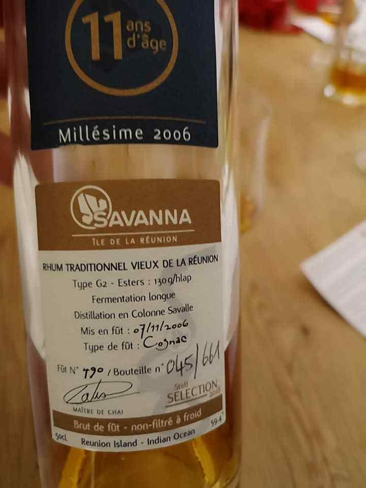 Savanna Single Cask Rhum Traditionnel 11ans Staff Sélection (59,4°) - bouteille 045/661 - mise en fût 07/11/2006
