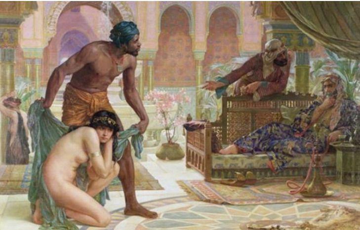 Le commerce des esclaves par les Barbaresques est typiquement représenté par des corsaires musulmans capturant des chrétiens blancs, comme dans l'image ci-dessus, mais cela ne reflète pas totalement la réalité.