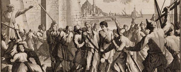 Débarquement de prisonniers à Alger de Jan Goeree et Casper Luyken, 1706.