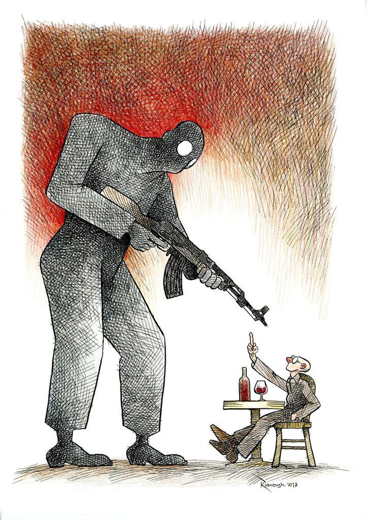 """Le dessinateur iranien Kianoush, exilé en France depuis 2010, a été récompensé le 28 janvier au festival off d'Angoulême. Il a reçu le prix """"Couilles au Cul"""""""