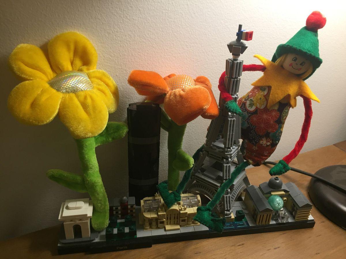 Arrivée de Fripouille dans notre belle capitale, avec un joli bouquet de fleurs en prime pour nous remercier de l'acceuillir quelques semaines chez nous