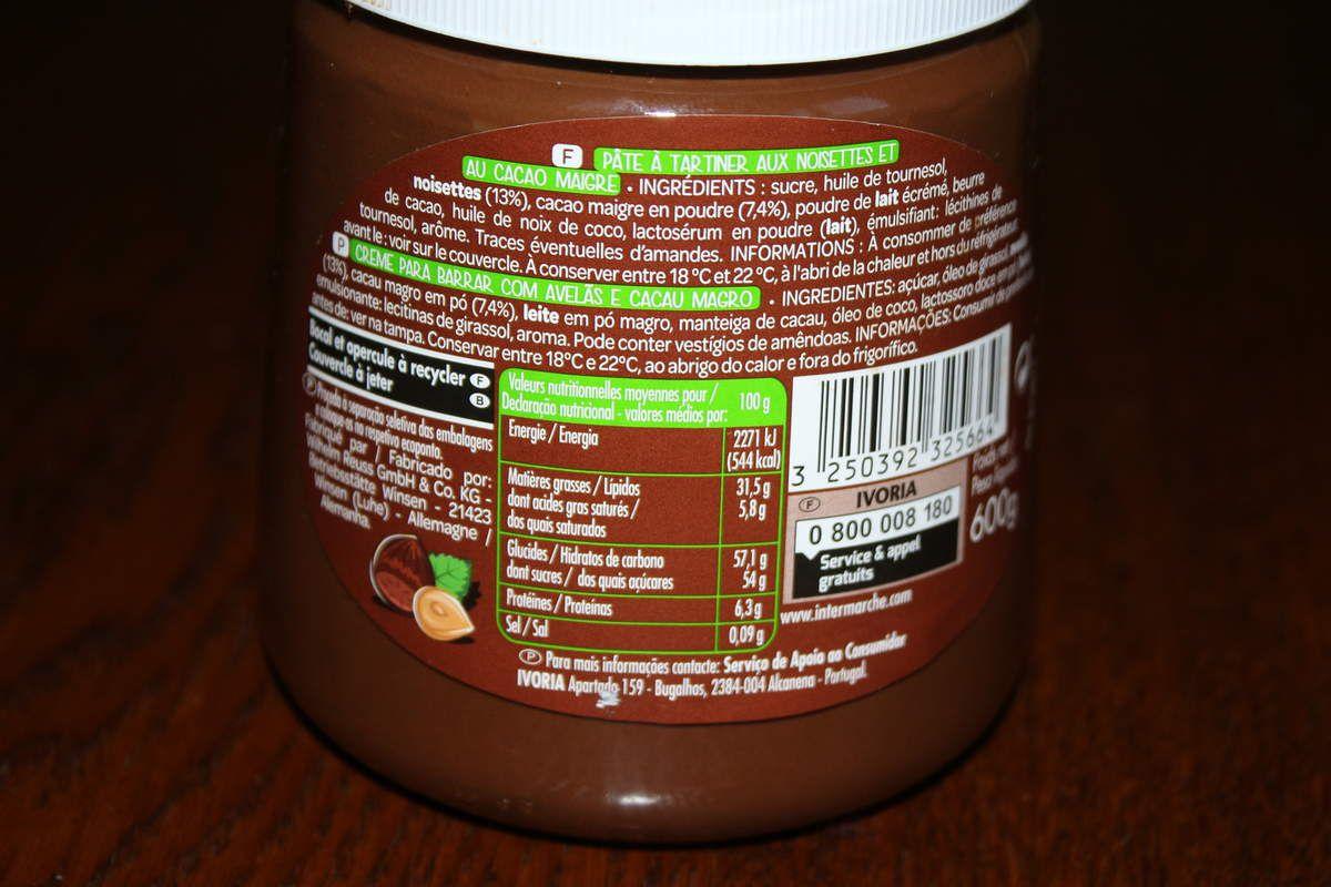 Informations nutritionnelles et ingrédients.