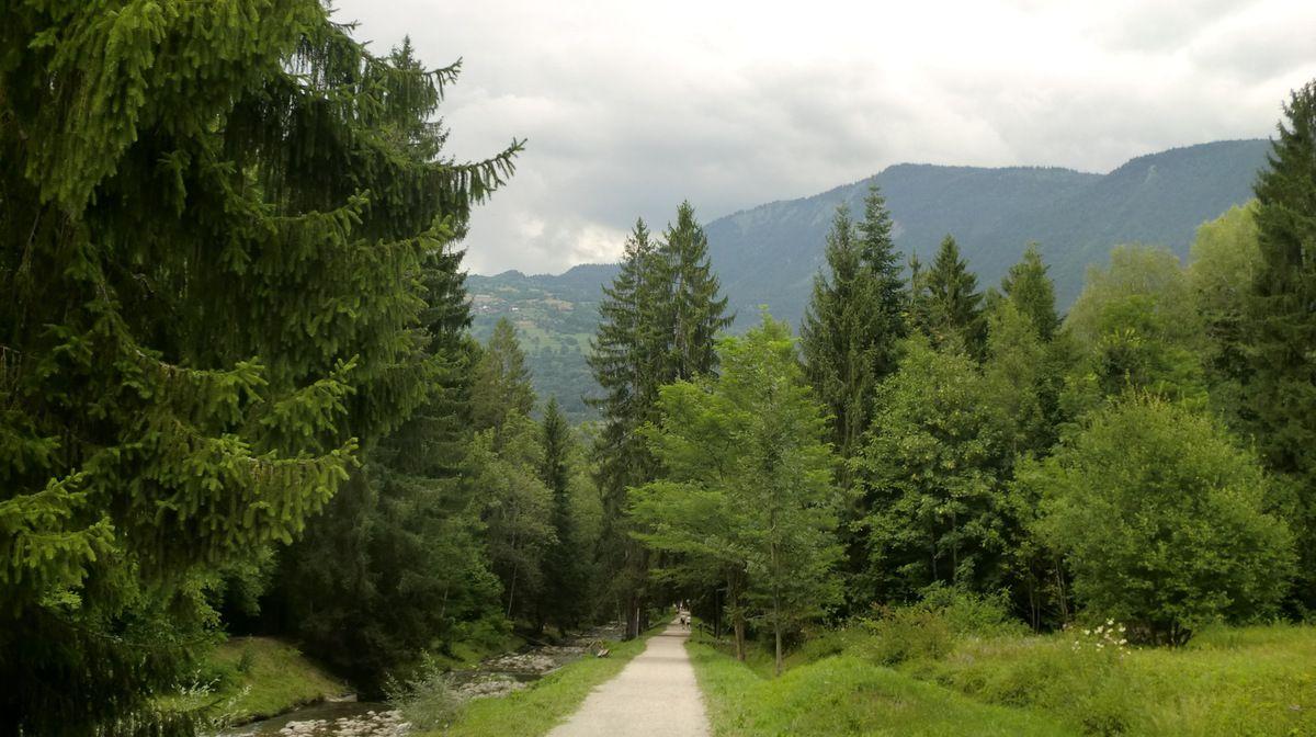 Le large chemin du retour sur la rive gauche, est parfaitement adapté aux familles avec des poussettes.