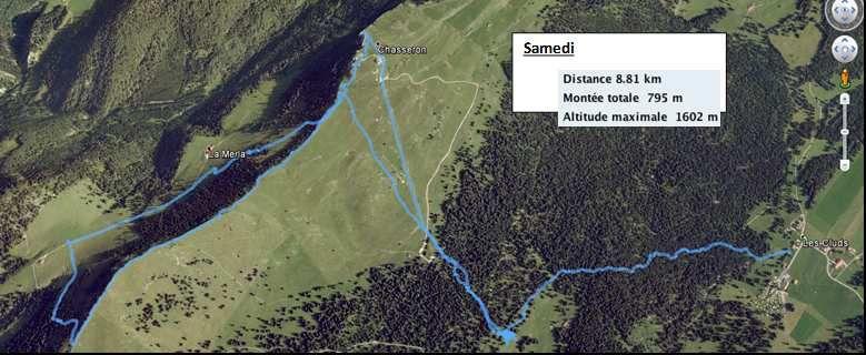 Parcours de ce premier jour de randonnée.(Source : Laurent).
