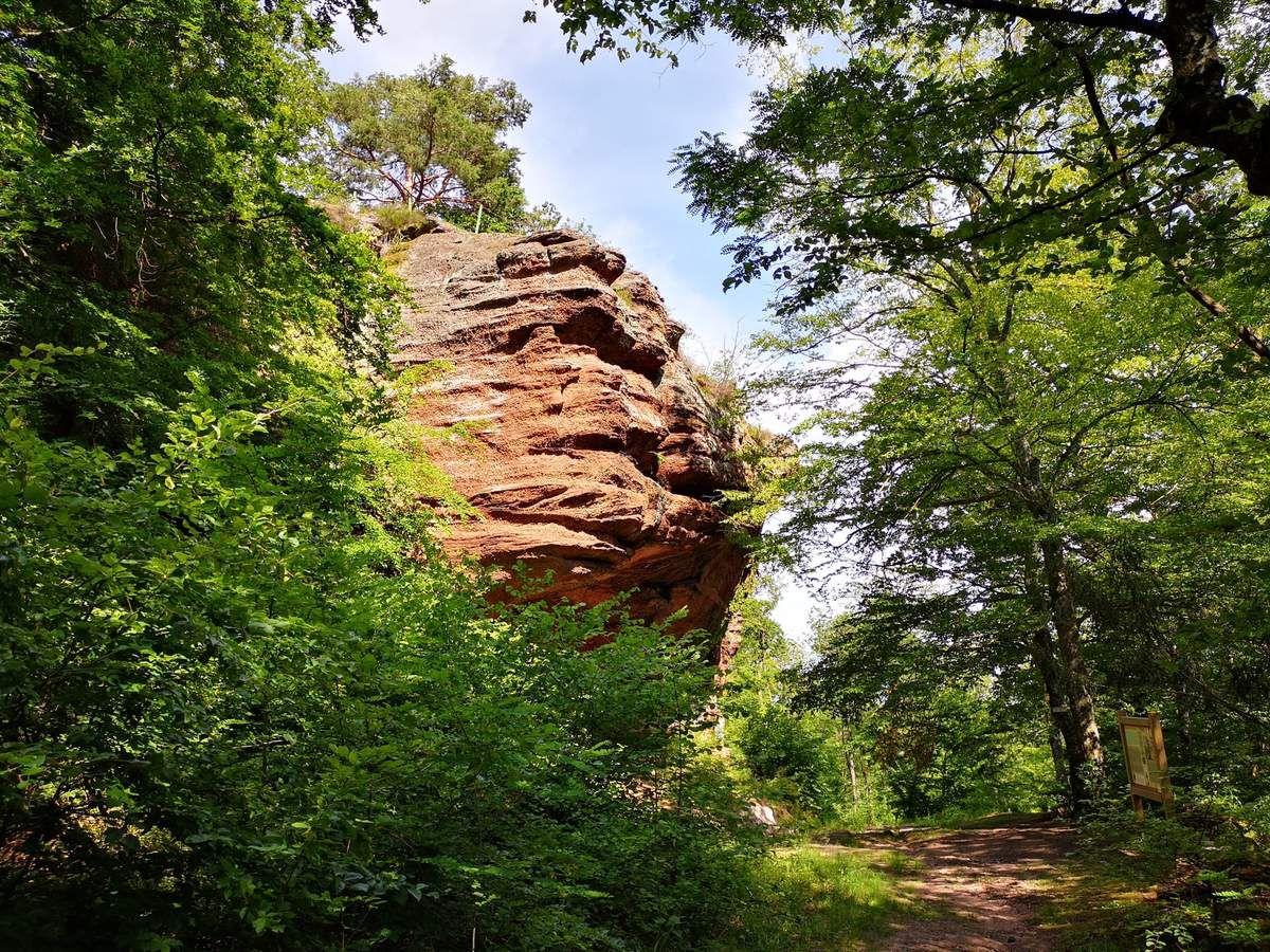 Le premier des trois rochers du site. Non équipé pour l'escalade, il possède une petite grotte à sa base