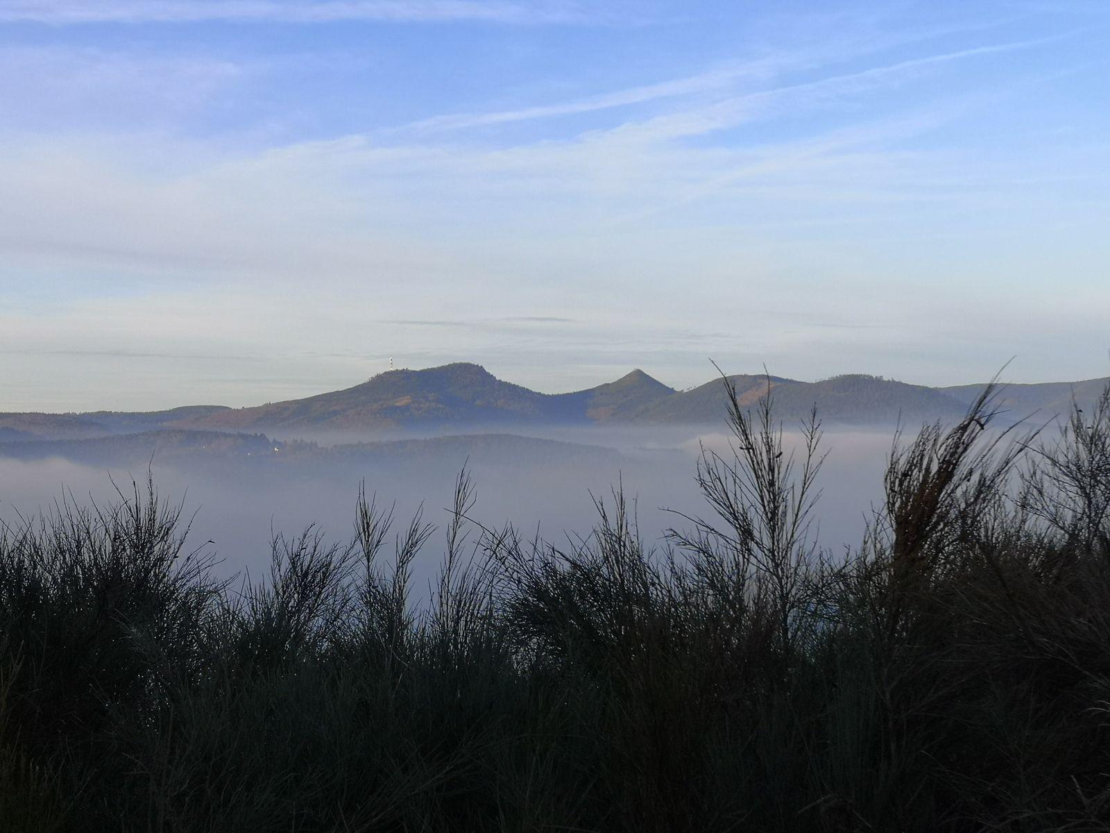 Telles des îles, les sommets du massif du Donon, nous apparaissent sur une mer de brume.