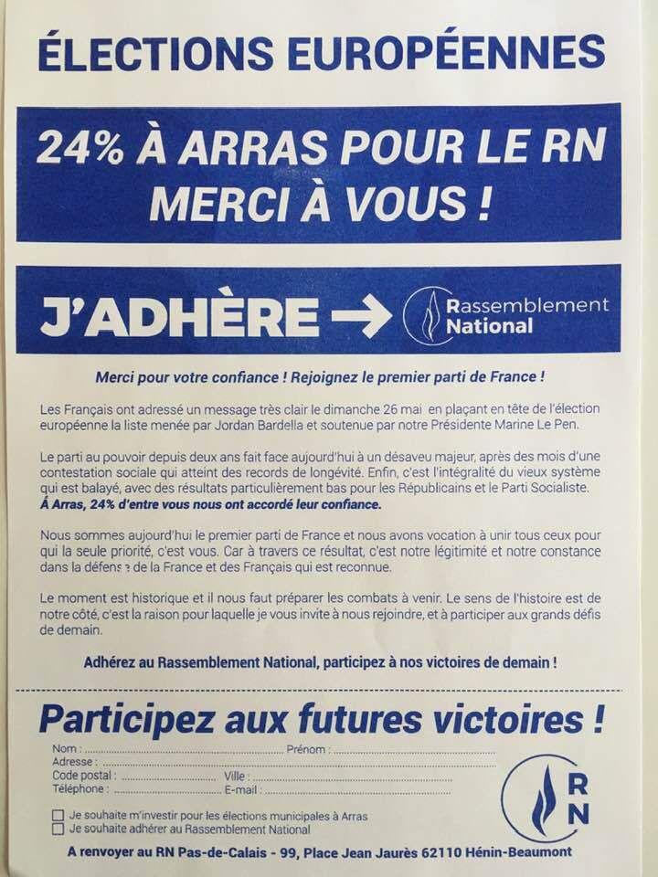 Boîtage à Arras afin de remercier les Arrageois d'avoir mis en tête notre mouvement dans la commune. Participez aux futures victoires !