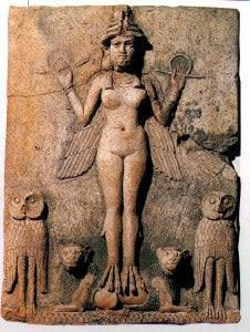 Lilith.Sumerian or Assyrian Terra Cotta Relief (Burney Relief) Front view Collection of Col. Norman Colville