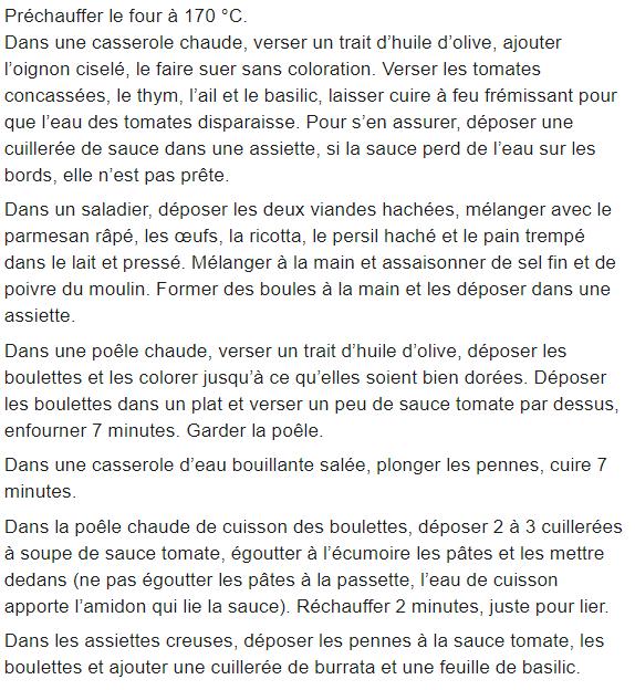 Les Boulettes Sauce Tomate Basilic, Pennes et Burrate de Cyril Lignac dans Tous en Cuisine !