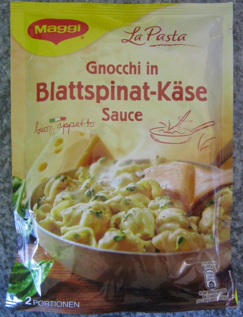 Maggi La Pasta Gnocchi in Blattspinat-Käse Sauce