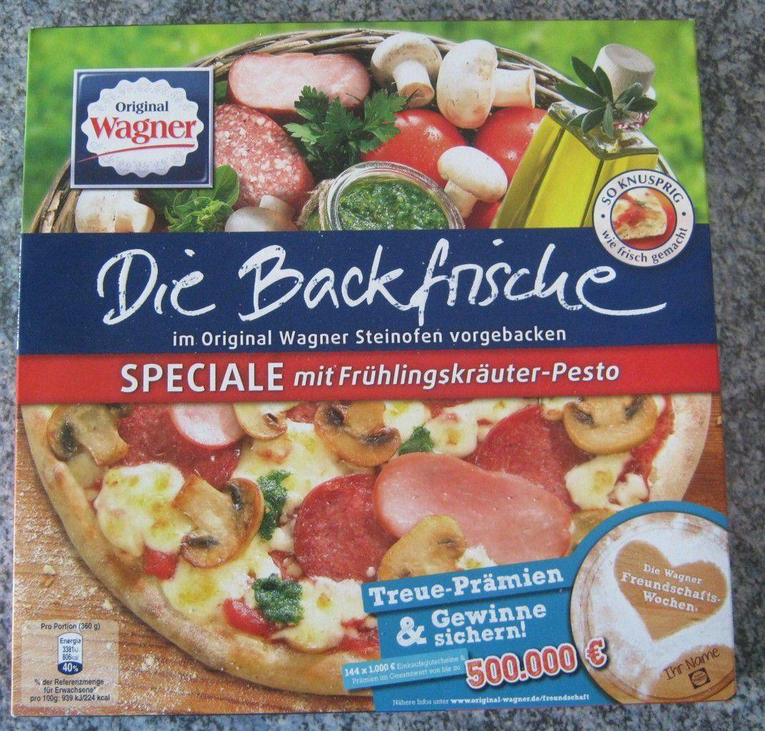Wagner Die Backfrische Pizza Speciale mit Frühlingskräuter-Pesto (Salami, Schinken + Champignons)