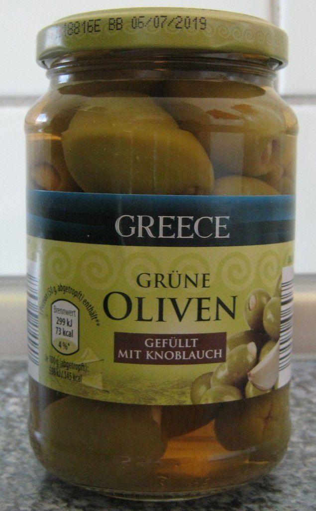 [Aldi Nord] Greece Grüne Oliven gefüllt mit Knoblauch von Clama