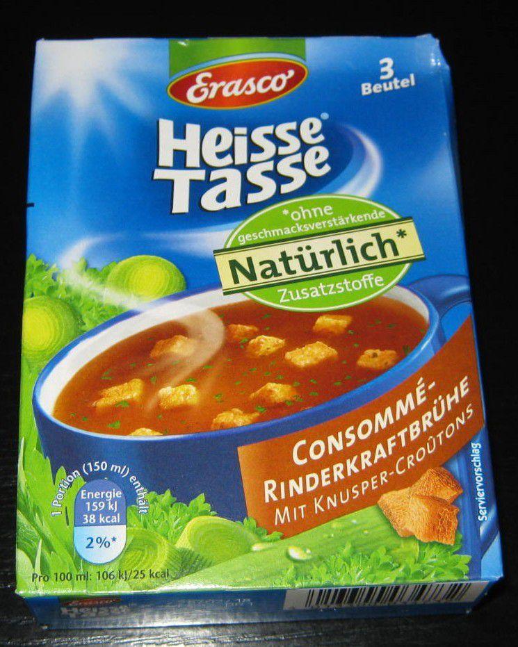 Erasco Heisse Tasse Consommé-Rinderkraftbrühe mit Knusper-Croutons
