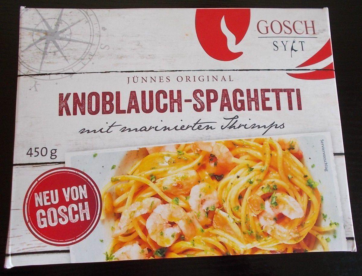 gosch sylt j nnes original knoblauch spaghetti mit shrimps produkttester von fertiggerichten. Black Bedroom Furniture Sets. Home Design Ideas