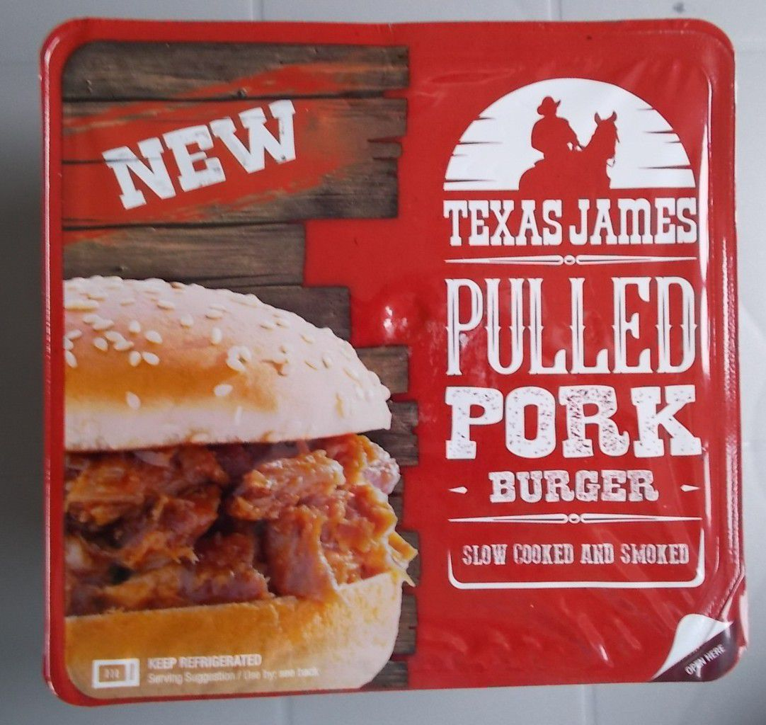 Texas James Pulled Pork Burger Slow Cooked and Smoked