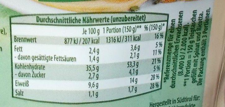 [Aldi] Alpenschmaus Teigtaschen mit Spinat und Ricotta