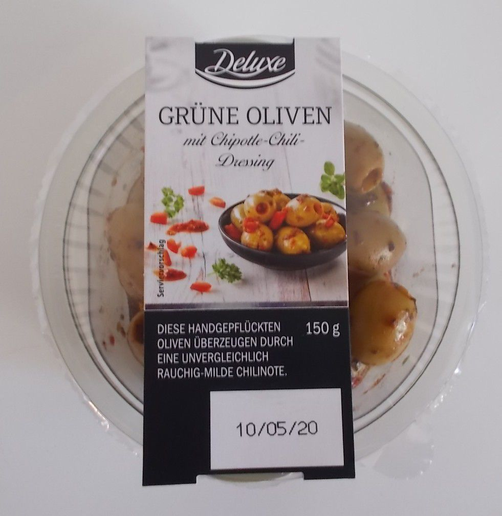 [Lidl] Deluxe Grüne Oliven mit Chipotle-Chili-Dressing