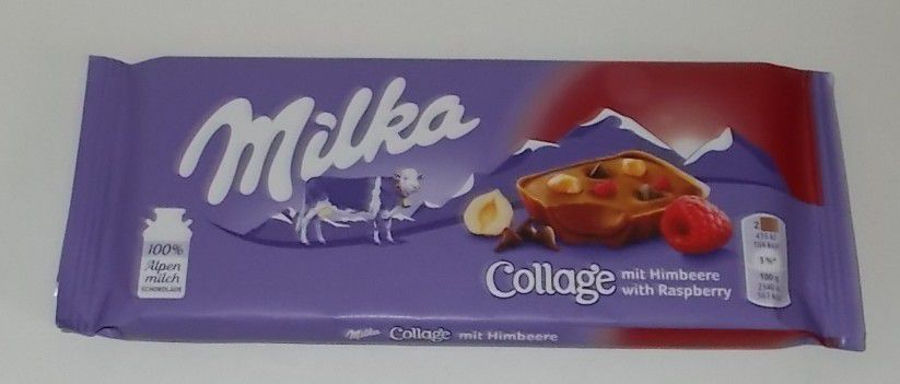 Milka Collage mit Himbeere with Rasperry