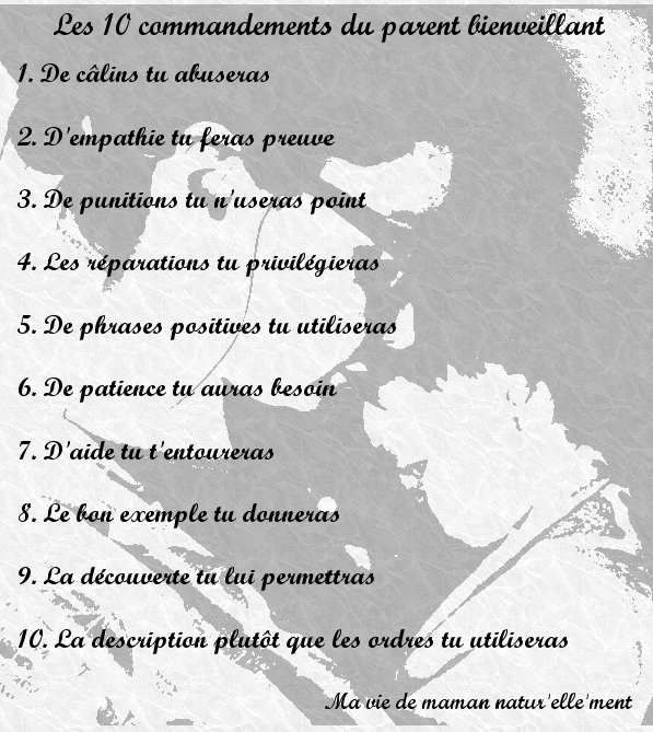 Les 10 commandements du parent bienveillant