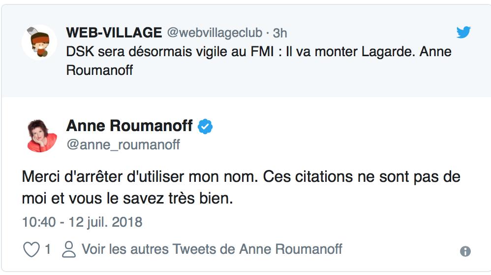 Anne Roumanoff recadre un utilisateur de Twitter « Merci d'arrêter d'utiliser mon nom »