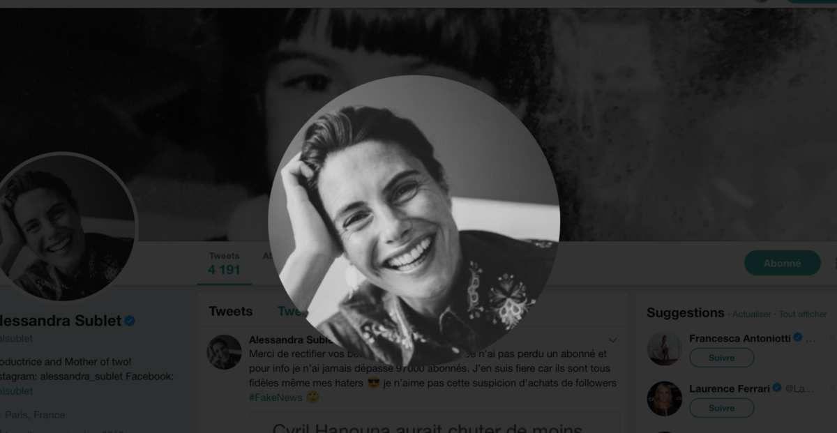 Alessandra Sublet dément avoir perdu 97 000 abonnés