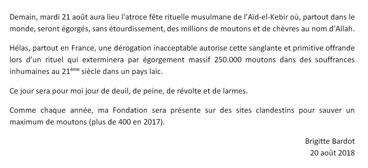Brigitte Bardot qualifie l'Aïd-el-Kebir « d'atroce fête rituelle musulmane »