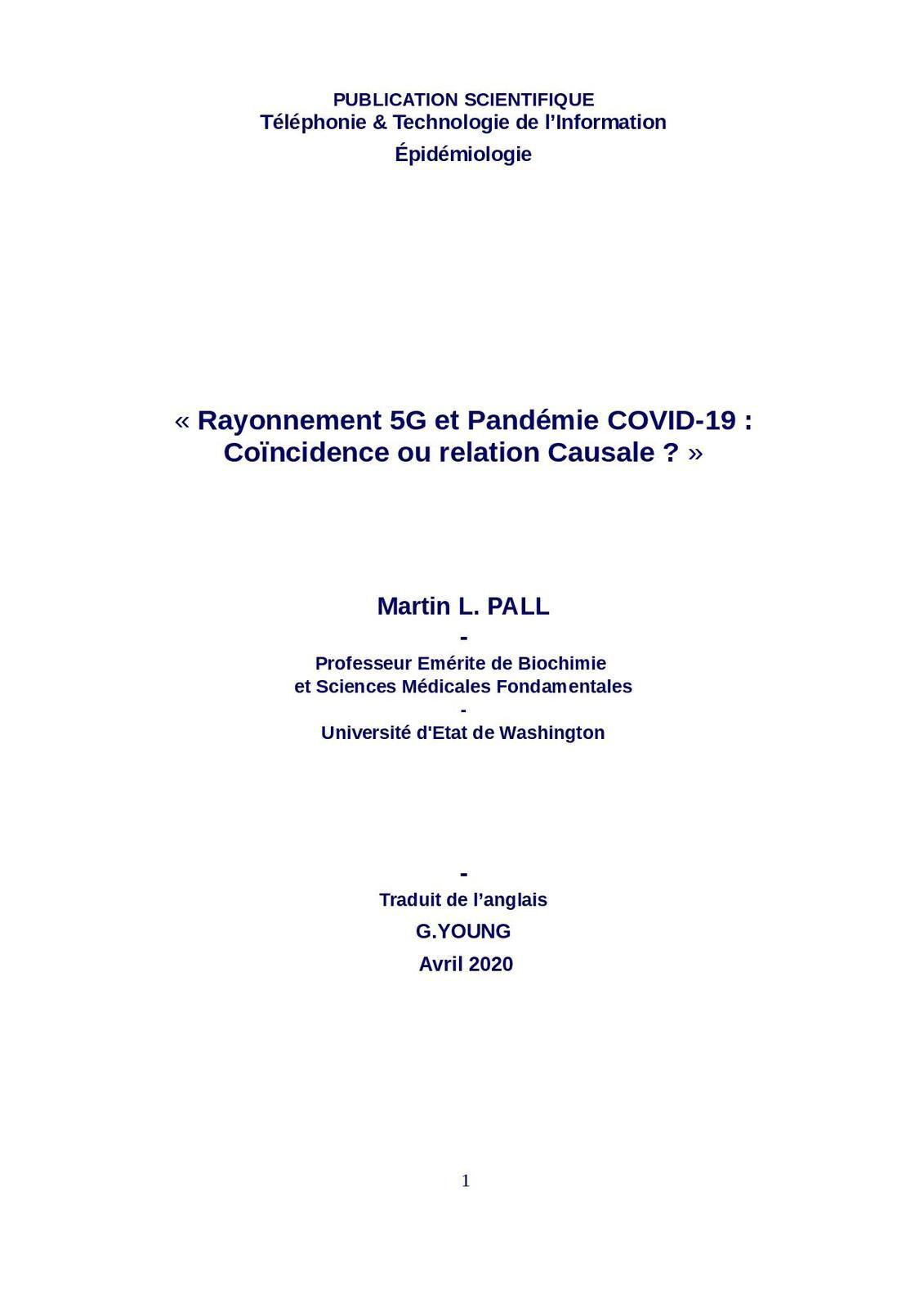 """PUBLICATION SCIENTIFIQUE """"Rayonnement 5G et Pandémie COVID-19 : Coïncidence ou relation Causale ?"""""""