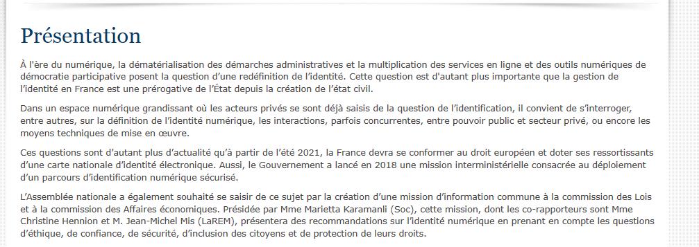 Présentation Commission Projet Loi Identité Numérique